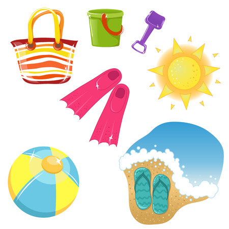 flip flops: set of vacation icons