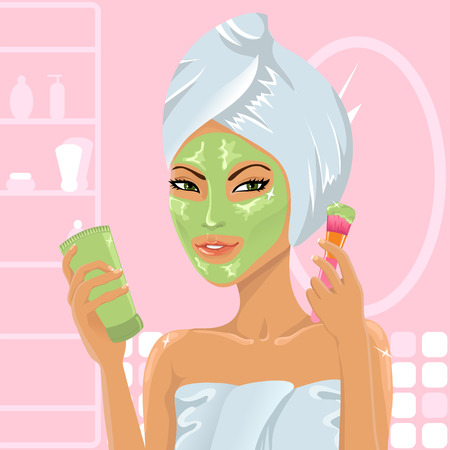 cosmetic cream: Girl applying facial mask with brush Illustration
