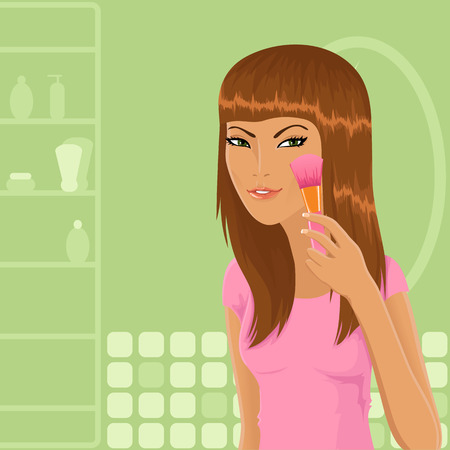 Girl applying powder with make-up brush Vector