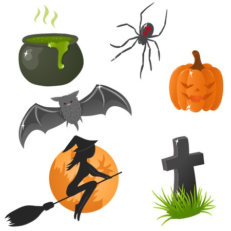 tombstone: Halloween icons Illustration