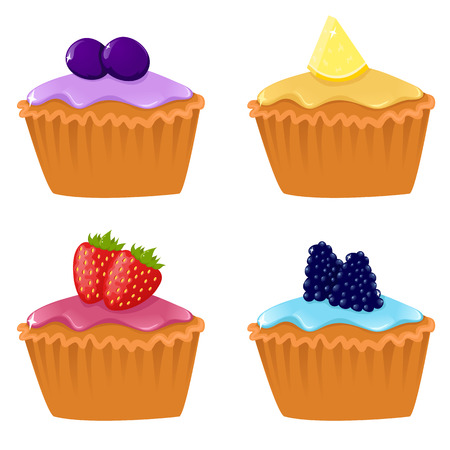 blueberry muffin: Set of four cute cupcakes Illustration