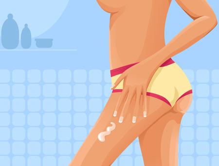 girl applying lotion to her leg Illustration