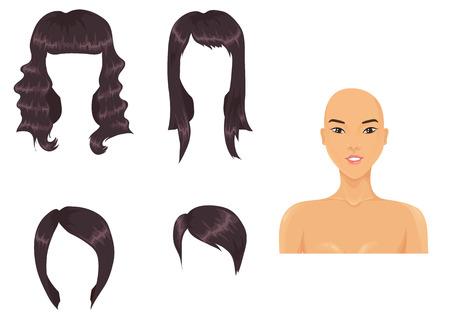 haircuts: Set of woman haircuts. asian