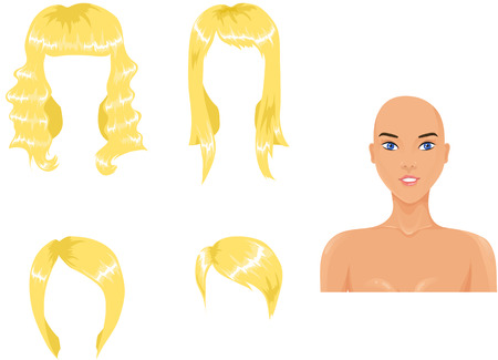Set of woman haircuts. blond Vector