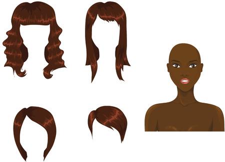 Satz von Frau Haarschnitte. Afrikanische