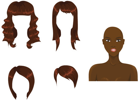 Set of woman haircuts. african Illustration