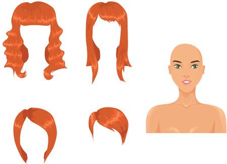 haircuts: Set of woman haircuts. redhead