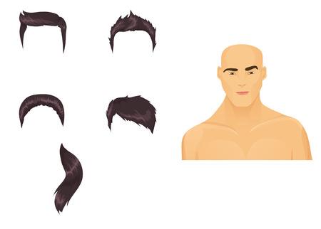Hombre cabeza con surtido de corte de pelo. Morena/Asia Ilustración de vector