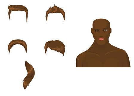 Male head with haircut assortment. Brunette/African Stock Vector - 8543863