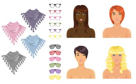 yellow hair: Icone femmine con assortimento di accessori