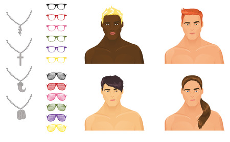 Male icons with accessories assortment Vector