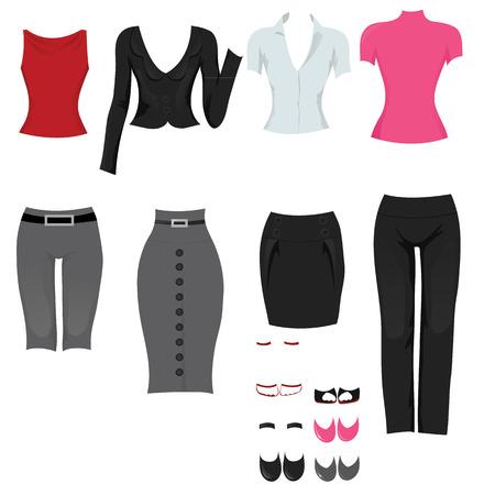 Vrouwelijke office outfits Stock Illustratie