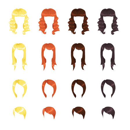 straight: Assortment of female hairstyles