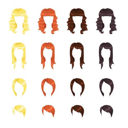 kurz: Sortiment von weiblichen Frisuren Illustration