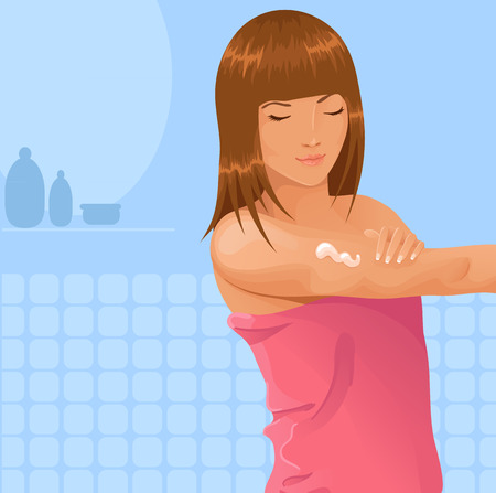 girl applying lotion to her arm Vector