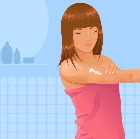 jeune fille appliquant lotion à son bras