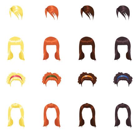 mu�ecas de papel: Conjunto de peinados femeninos. Cuerpo coincidente en mi cartera Vectores