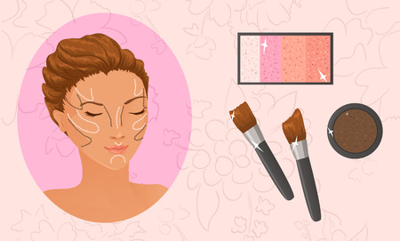 highlighter: Applying highlighter and bronzer. Face contouring
