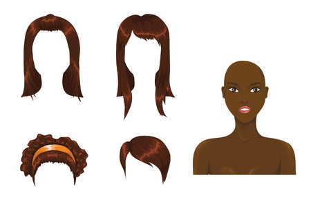 cartoon hairdresser: Afro hair assortment