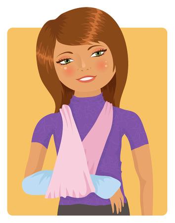 Cute girl met gebroken arm