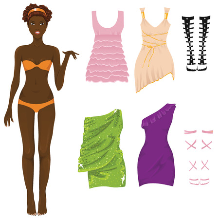green dress: Dress up paper doll Illustration
