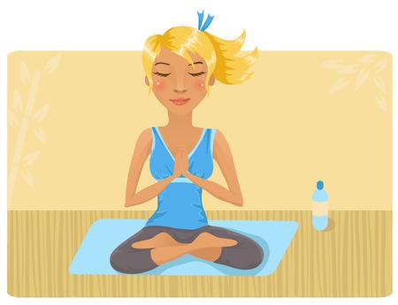Meisje, yoga doen Stock Illustratie