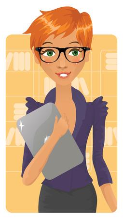 Cute kantoor meisje houdt van een notebook Stock Illustratie