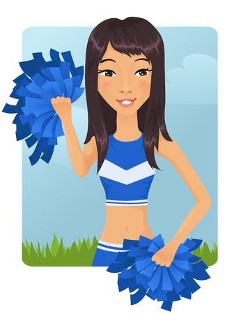 pom pom: Cute Asian cheerleader girl