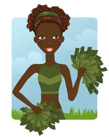 pom pom: Cute African cheerleader girl