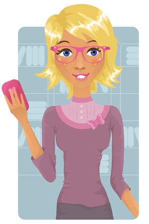 Cute business woman holding a cell phone Vector