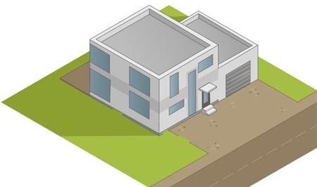 flat roof: Isometric house illustration