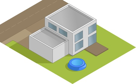 flat roof: Isometric house illustration