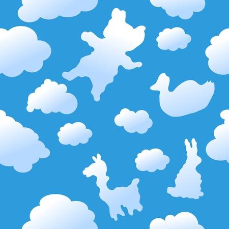 nubes caricatura: Fondo de nubes animal transparente Vectores