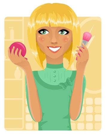 beautify: Girl applying powder with make-up brush