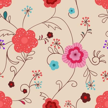 violet red: Seamless floral background Illustration