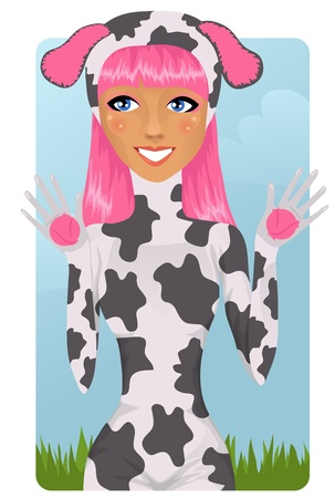 Cute girl in cow costume Stock Vector - 9407293