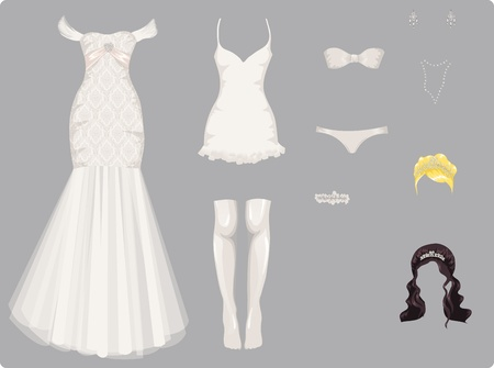 Female wedding clothes Vector