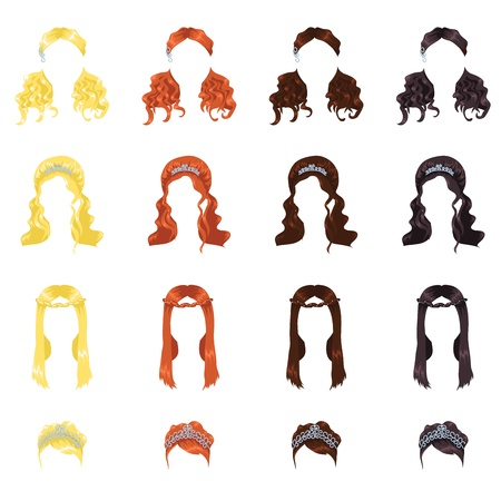 assortment of female hair Stock Vector - 9465131