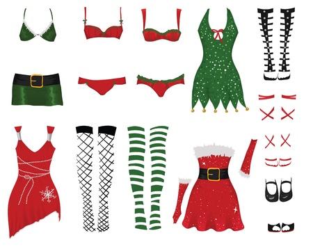 Set der weiblichen Weihnachten Kleider Illustration