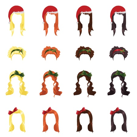 cute girl with long hair: assortment of female hair