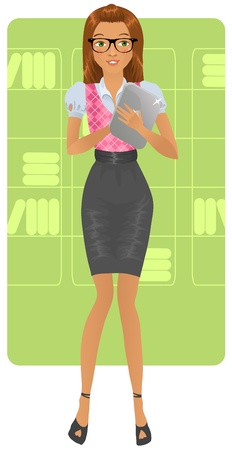 secretary skirt: Cute business woman holding a tablet
