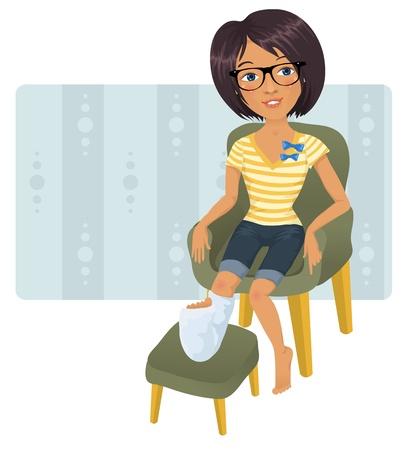 jambe cass�e: Cute girl avec la jambe cass�e