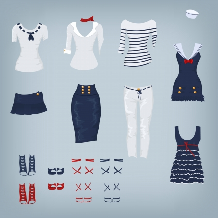 navy blue background: Female navy set of clothes