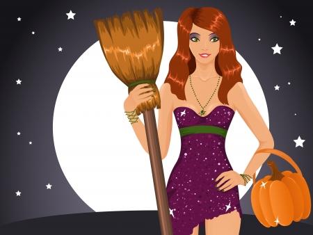 redhead woman: Sexy Halloween strega in possesso di una scopa e una zucca