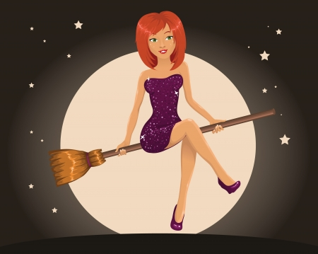 Sexy Halloween witch flying on a broom Vector