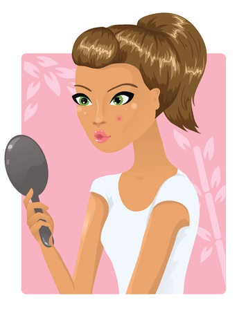 Girl with a pimple on her cheek holding a mirror Vector
