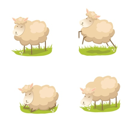 Set of cute lambs Stock Vector - 17120423