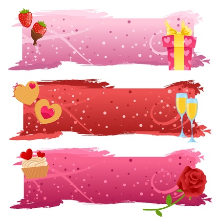 champain: Set of Valentine banners