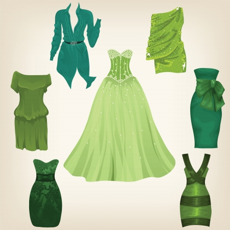 Set of gorgeous green dresses for female model Vector