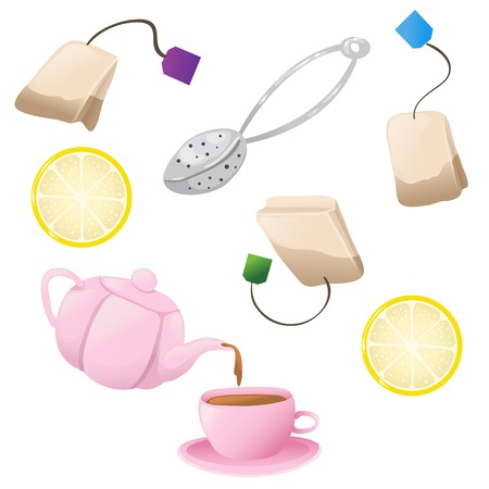 infuser: Cute set of tea icons